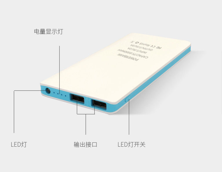 Super Fast Charging  Power Bank 2.1A 8000mah Portable  Mobile Phone Charger